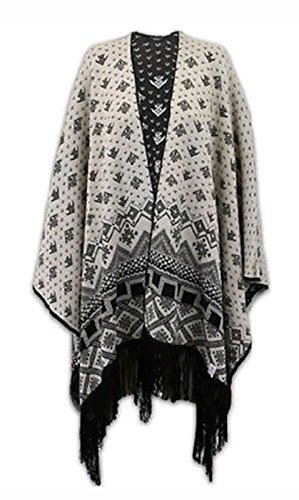 Classy Trendz - Damen Reversible Aztec Strick Fransen Schal Jaquard Wrap Cardigan (Stone, Free Size Fits (8-22)) Jaquard-wrap