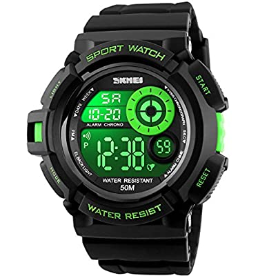 Mens Teenagers Boys Digital Sports Watches - Mens Gents Boys Junior Children 50M Waterproof Multifunction Casual Travel Electronic Watch with 7 Color LED Light Alarm Timer Stopwatch produced by KDM - quick delivery from UK