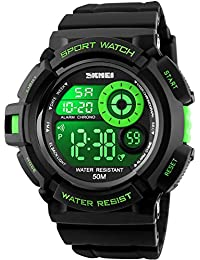 amazon co uk green wrist watches men watches mens teenagers boys digital sports watches mens gents boys junior children 50m waterproof multifunction casual travel electronic watch
