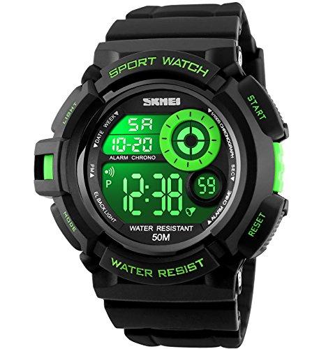 Herren Jugendliche Jungen Digital Sportuhr - Herren Jungen Kinder 50M Wasserdicht Multifunktion Lässige Reise Elektronisch Uhren mit 7 Farbe LED Beleuchtung Timer Wecker Stoppuhr Armbanduhr ( Grün )