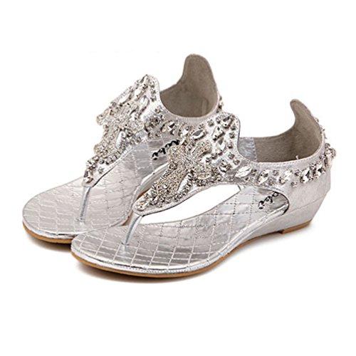 NiSeng Femmes Bohême Perlée Rhinestone Sandales Chaussures Été T-Strap Clip Toe Peep Toe Sandales Argent