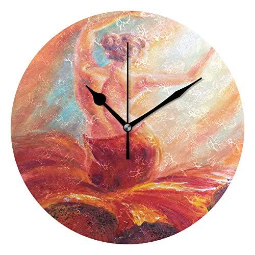 LISUMAL Dipinto di Danza di Flamenco Dorso di Donna Donna Bohemien Colorato,Sveglia Rotonda Senza Scala da 25 cm per Uso Domestico, Display da Parete a Doppio Uso, Stile retrò Rustico colorato Chic
