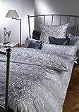 CURT BAUER Mako-Brokat-Damast-Bettwäschegarnitur FLORENZ 135x200 cm + 080x080 cm, Farbe perlgrau