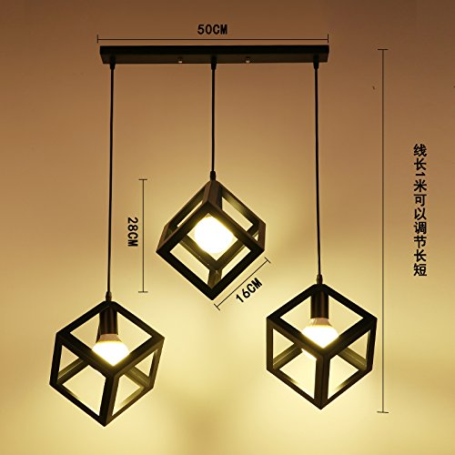 Luckyfree Kreative Modern Fashion Anhänger Leuchten Deckenleuchte Kronleuchter Schlafzimmer Wohnzimmer Küche, Das Schwarze Quadrat 3fach Kombination lang warmes Licht