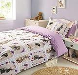 Dreamscene Pet Love Bettwäsche-Set mit Bettdeckenbezug und Kissenbezügen, Mehrfarbig, Single/135 x 200 cm