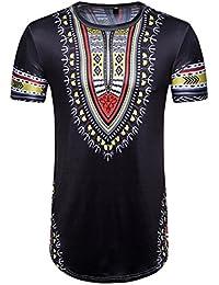 T-Shirts Homme Hip Hop Africain,Covermason Homme d'été Occasionnels Africain Impression O Cou Pull Manches Courtes T-Shirt Chemise Haut Tops