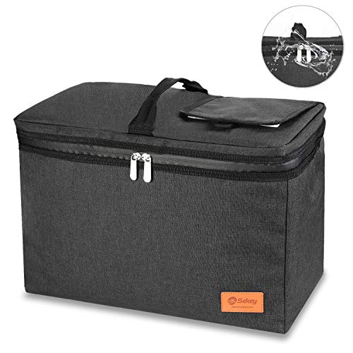 Sekey 24L Kühltasche, Thermotasche, isolierte Picknicktasche mit wasserdichtem Reißverschluss für Picknick/Camping/Sportveranstaltungen, passend für alle Faltwagen, schwarz