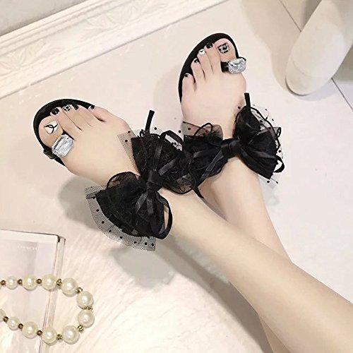 Chaussons,LHWY Femmes Sandales plates à fleurs d'été Casual Flip Flops Nouvelles chaussures Noir