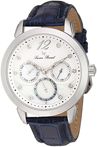 Lucien Piccard Rivage Women's Quartz Watch with Mother of Pearl Dial Analogue Display and Blue Leather Strap LP-40038-02MOP-BLS
