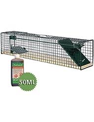 Moorland Trampa animales pequeños - Ratas ratones - 80x15x19 cm - 1 Entrada - Safe 6042 - Feromona - Alambre y madera