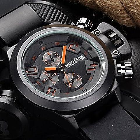Fenkoo Hombre Reloj de Pulsera Cuarzo Japonés Calendario / Cronógrafo / Resistente al Agua Caucho Banda Negro / Marrón Marca-