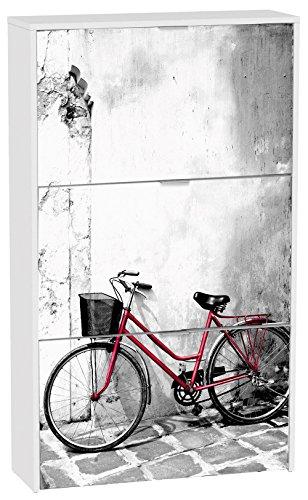 Commode à chaussures de 3 portes laqué blanc motif Vélo Rouge, 750 x 242 x 1268 mm -PEGANE-