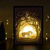 Papierschnitt Licht-Box Beleuchtung Lampe 6 LED Perlen Romantische Lamp entspannende Stimmung Lichtprojektor-Baby-Kinderzimmer-Schlafzimmer Kinder Zimmer und Weihnachts-Geschenk (Einhorn)