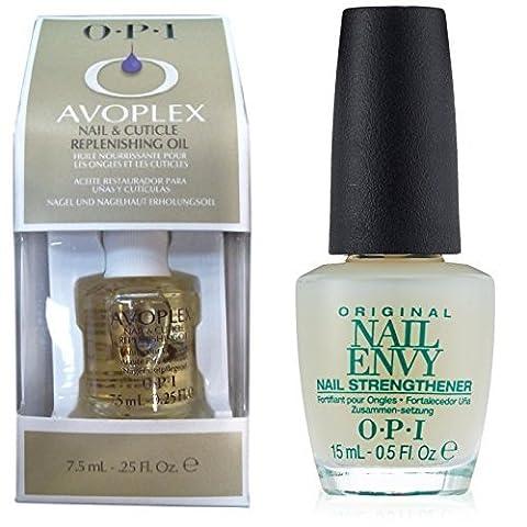 OPI Avoplex Nail and Cuticle Replenishing Oil, 15 ml & OPI Original Nail Envy Nail Strengthener 15 ml Duo Set