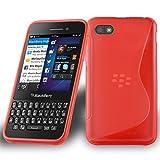 Cadorabo - Custodia silicone TPU S-Line Design per Blackberry Q10 - Case Cover Involucro Bumper Astuccio in ROSSO-CREMISI