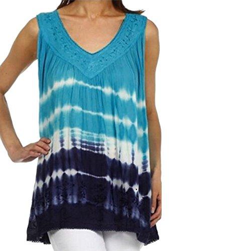Chemisier Femme,Xjp® Hot Imprimé Floral Sans Manches Dentelle Grande Taille Décontractée Tank Tops Bleu