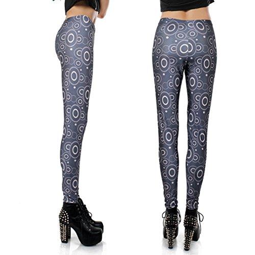 THENICE élastique extensible pour femme imprimé collants leggings pour femme galaxy clair Multicolore - M