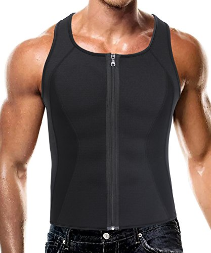 Herren Sport Tank Top, Neopren Sweat Korsett Weste Body Shapewear für Abnehmen (XL(Fit 35.4-39.3 Inch Waist), Black(3-5 Days Delivery))