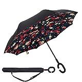 Paraguas Invertido,Plegable,reversible,con mango en forma de C invertida Paraguas de doble capa a prueba de viento