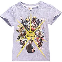 SERAPHY Camiseta de Manga Corta de Algodón Fortnite Camisetas Niños Maravillosos Regalos para Niños Gris-96 160