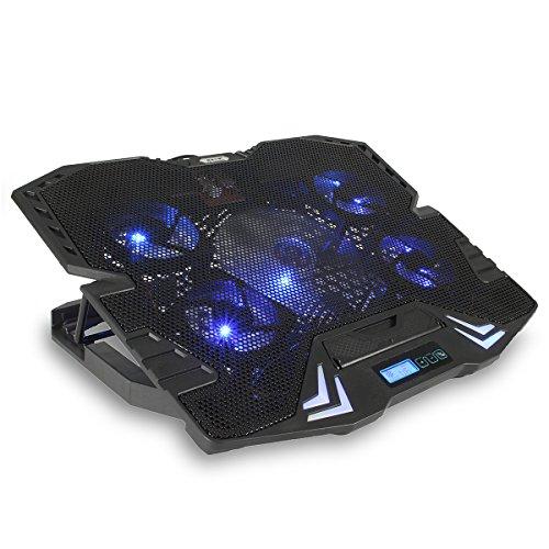 MECO Refroidisseur PC Portable Radiator Pc Laptop Notebook Cooler Ventilateur Extérieur avec Un Affichage 2 Ports USB 6 Programmes de Refroidissement 5 VentilateursSilencieux Hauteur Réglable Convien