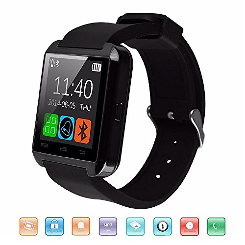 Bluetooth Smart Watch, KeepGoo U8 Smartwatch for Android IOS Smartphone Smart Watches Support Health Pedometer Sleep Monitor Call/SMS/SNS Alert 1.44'' Touch Screen Wrist Watch for Men, Women (Black)