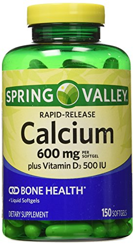spring-valley-calcium-liquid-filled-absorbable-150-softgels-600mg-plus-vitamin-d3-by-wal-mart-stores
