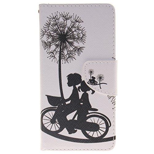 Anlike für Huawei P9 Lite / P9 mini Hülle / Handyhülle / Schutzhülle / Ledertasche / Tasche / Case / Cover / Flip Brieftasche / Bookstyle mit Standfunktion Kredit Karteneinschub und Magnetverschluß - Liebhaber Fahrrad