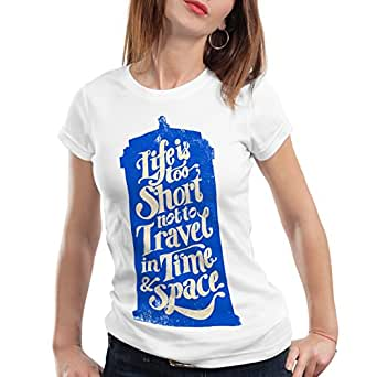 style3 Time Who T-Shirt Femme dalek dr. time police box Doctor space tv, Color:Blanc;Talla:XS