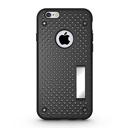 iPhone 6 Mesh Hülle,EVERGREENBUYING Abnehmbare Hybrid Schein iPhone 6S Tasche SchutzHülle mit Standhälter 2 Abdeckungen / Zubehör Case Cover für Apple iPhone 6 / 6S (4.7 Inch) Schwarz Schwarz