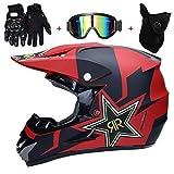 TKUI Moto Motocross Casques Casque intégral Casque Parasol, Gants et Lunettes D. O. T Standard Enfants Quad Bike VTT Go Karting Casque Rouge,M(54~55cm)