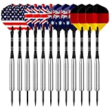 Sametop Dartpfeile 22 Gramm Steel Dart 12 Stücke Metallspitze Darts Set mit Veschiedenen Flights, Aluminum Schafts, Neusilber Barrels, Dart Point Spitzer
