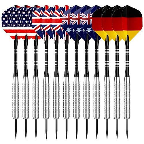 Sametop Dartpfeile 22 Gramm Steel Dart 12 Stücke Metallspitze Darts Set mit Veschiedenen Flights, Aluminum Schafts, Neusilber Barrels, Dart Point Spitzer (Darts Steel Tip Spitzer)