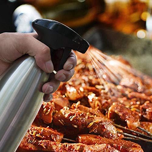 Edelstahl Ölsprüher Flasche Öl Essig Spender 500ML, Hukz Essig Spritzer Ölspender Öl Auslöser Oil Sprayer Bottle Dispenser Öl Sprüher Olivenöl Container für Kochen, Salat, BBQ, Grillen, Pasta - Gießen Olivenöl Top