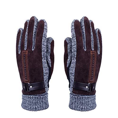 STXZM Volle Fingerhandschuhe, Männer Outdoor Schwein Haut Plus Samt Dicke Winter Bootfahren Reiten Kalt Warm Gestrickte Baumwolle Radfahren Handschuhe (Farbe : Brown)