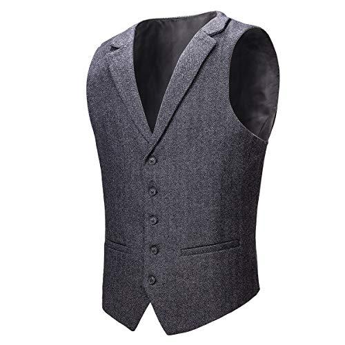 VOBOOM Herren Weste mit maßgeschneidertem Kragen Woll Tweed Anzugweste