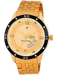 Swiss Grand SG_1221 Golden Coloured With Golden Stainless Steel Strap Quartz Watch For Men