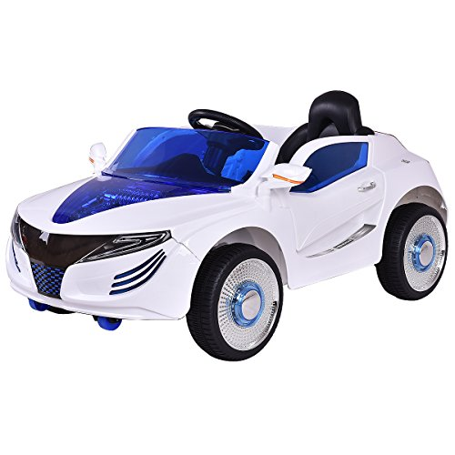 COSTWAY 2.4G Elektroauto Kinderauto Elektrofahrzeug Kinderfahrzeug Elektro Auto zwei Motor mit Fernbedienung und Musik (Weiß)