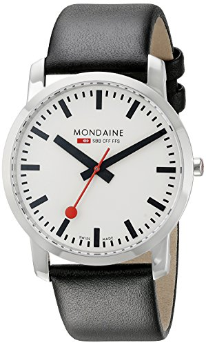 Mondaine Men's Quartz Watch with White Dial Analogue Display and Black Leather Strap A6383035011SBB