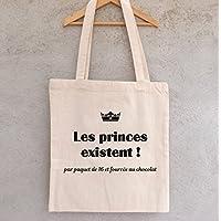 """Tote Bag """"Les princes existent ! Par paquet de 16 et fourrés au chocolat"""" - sac shopping - sac coton - sac bandoulière - sac de filles - hiboux - chouettes"""