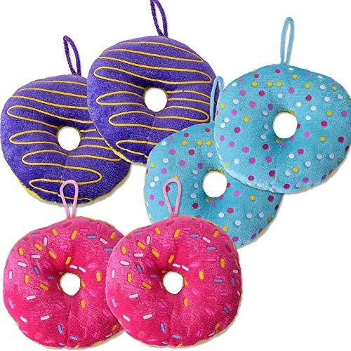 TE-Trend 6 Stück Plüsch Donut Bagel Krapfen Plüschanhänger Geburtstag Deko Mitgebsel 10cm Taschen Anhänger Party Set