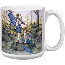 Árbol de-free Tarjeta de felicitación de 20 oz Fantasy Primos segundos diseño de hada con y sirena Amy marrón papero taza grande