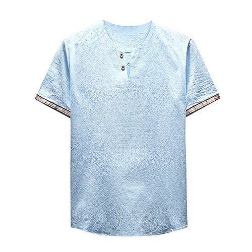 UFACE Herren Sommer T-Shirt Baumwolle Leinen Thai Hippie Hemd V-Ausschnitt Strand Yoga Top Bluse Hemd Weste Sweatshirt Baumwollshirt Longshirt Ärmellos Playsuit