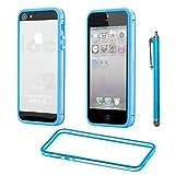 ebestStar - Compatible Bumper iPhone SE 5S 5 Funda Protectora Bordes Lados Reforzados, Carcasa Anti choques + Lápiz, Transparente/Azul [Aparato: 123.8 x 58.6 x 7.6mm, 4.0'']
