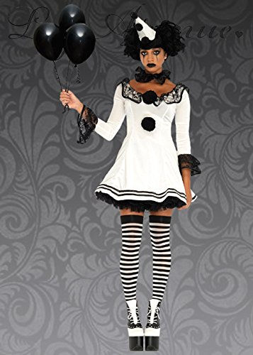 Clown Kostüm Gothic - Magic Box Int. Womens Gothic Schwarz-Weiß-Clown-Kostüm S/M (UK 8-10)