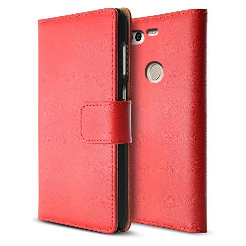 Huawei Ascend P9 cas, BELK Svelte Folio flip PU cuir Portefeuille étui [Grip Nettoyer] Retour Rigide Couverture PC, cas supporter lisse soie avec multi ID Fente Pour Carte Slots pour Huawei P9, 5.2 po rouge