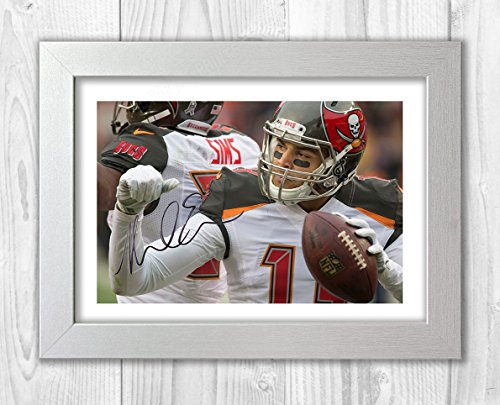 Engravia Digital Mike Evans Tampa Bay Buccaneers Poster Signed Autograph Reproduction Photo A4 Print(White Frame)