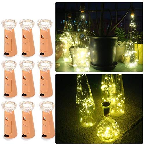 Flaschenlicht, FUQUN 9 Stück korkenförmig LED Licht, 200cm Licht mit 20 Warmweiß LEDs Lichterkette, Ideal für Flasche DIY, Party, Weihnachten, Halloween, Hochzeit