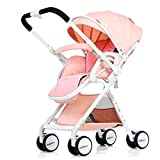 Kinderwagen, leichtes faltendes vierrädriges Fahrzeug, kann sitzen und liegen, Zweiweggehen, Aluminiumlegierungs-Körper ( Color : Pink )