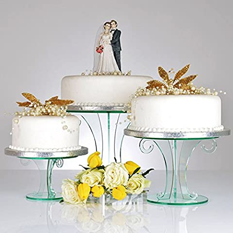 Glass Effect Acrylic Scroll Design Cake Stand - Set of